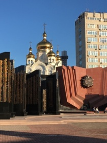 One of the breathtaking views in central Khabarovsk: The war memorial Glory Square juxtaposed with an Orthodox church.